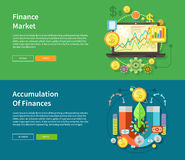 Finance Market and Accumulation of Finances. Accumulation of finances concept of a magnet attracting golden coins from one side to the other. Financial diagram Stock Image