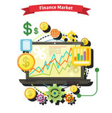 Finance Market Concept. Financial diagram on a laptop monitor. News from finance market. Business stock exchange. Financial planning, accounting, corporate Stock Image