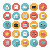 Finance and market flat icons set. Modern design vector illustration flat icons set with long shadow style of financial service items, business management symbol Royalty Free Stock Photography