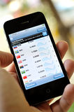 Finance market on mobile iphone 4S Royalty Free Stock Photography