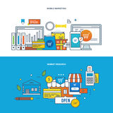 Finance, marketing, research, analysis, strategy and online business planning. Concept of illustration - finance, management, marketing, research and analysis Stock Image