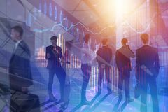 Finance and meeting concept. Businesspeople in abstract meeting room with forex chart. Finance and meeting concept. Double exposure Stock Image