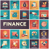Finance - modern flat design isquare icons. Set of modern vector finance, business flat design icons in squares. Analytics, businessman, make money, profit, bank Stock Photo