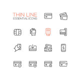 Finance - modern vector single thin line icons set. Credit card, microchip, hand, registrator, dollar bill, mobile device, check, denial lock Royalty Free Stock Image