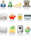Finance and money. Vector icons for finance and banking Stock Photos
