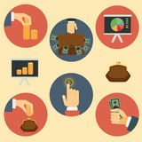 Finance, money and analytics illustrations. Finance, money and analytics flat retro illustrations Royalty Free Stock Images