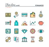 Finance, money, banking, business and more, thin line color icon. S set, vector illustration Royalty Free Stock Images