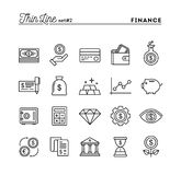 Finance, money, banking, business and more, thin line icons set. Vector illustration Stock Photo