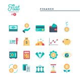 Finance, money, banking and more, flat icons set. Vector illustration Stock Photos