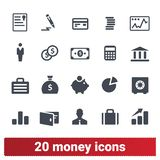 Money, Financial Business And Banking Icons Set stock illustration