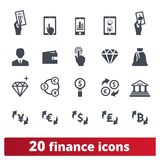 Financial Business, Money Making And Banking Icons stock illustration