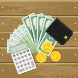 Finance money, banknote and coin. Wallet and calculator. Vector cash income, accounting budget, financial balance illustration Stock Photo