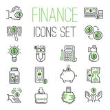 Finance money business outline black wealth accounting graph savings and cash investment banking financial green bank. Icons set vector illustration. Credit Stock Photo