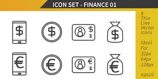Finance and Money, Dollar and Euro, Thin Line Vector Icon Set. Finance and Money, Dollar and Euro coins banknotes and electronic cash, Thin Line Vector Icon Set Stock Image