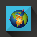 Finance money economy dollar business. Isolated,  illustration Royalty Free Stock Photo