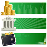 Finance & Money Horizontal Banners. A collection of three financial and money horizontal banners with a stack of coins, a bank building icon and a wallet on Stock Images