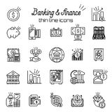 Finance and money icon. Banking, business thin line icons set. Vector. Illustration Stock Image