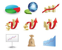 Finance and money icon set Stock Images