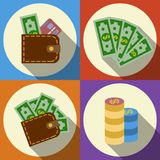 Finance and money icon set. Finance and money icon set with long shadow. Ilustration Stock Photos