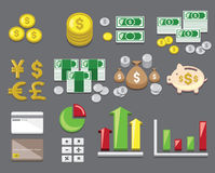 Finance and money icon set Stock Photos