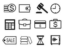 Finance and Money icon set outline. Finance and Money icon set with black outline Royalty Free Stock Photo