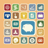 Finance and money icon set. Finance and money icon sticker set Stock Image