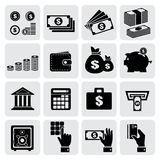 Finance and money icons set. Vector illustration Stock Photos