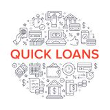 Finance, money loan circle template flat line icons. Quick credit approval, currency transaction, no commission, cash. Deposit atm vector brochure illustration vector illustration