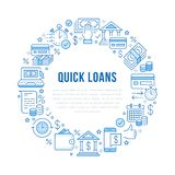 Finance, money loan circle template flat line icons. Quick credit approval, currency transaction, no commission, cash. Deposit atm vector brochure illustration stock illustration