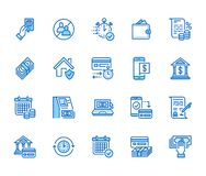 Finance, money loan flat line icons set. Quick credit approval, currency transaction, no commission, cash deposit atm. Vector illustrations. Thin signs for stock illustration