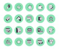 Finance, money loan flat line icons set. Quick credit approval, currency transaction, no commission, cash deposit atm. Vector illustrations. Thin signs for vector illustration