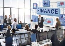 Finance Money Management Graphics Concept. Business People Discuss Finance Money Management Stock Image