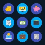 Finance, money, payments icons set, flat style. Eps 10 file, easy to edit Royalty Free Stock Images
