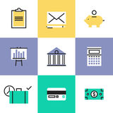 Finance and money pictogram icons set vector illustration