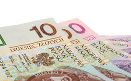 Finance money polish banknote on white Stock Photos