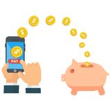 Finance money saving. Mobile payments are saving money. Pig piggy bank for coins. Banking and Finance. Technology pay online. Flat vector cartoon illustration Stock Image
