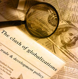 Finance and money series. The clash of globalizations headlines Stock Photography