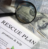 Finance and money series. Rescue plan headline section of the newspaper Stock Photos