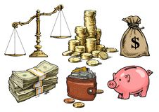 Finance, money set. Scales, stack of coins, sack of dollars, paper money, wallet, piggy bank. Hand drawn vector. royalty free illustration