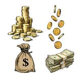 Finance, money set. Sketch of stack of coins, paper money, sack of dollars falling gold coins in different positions. Hand drawn collection isolated on white royalty free illustration