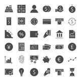 Finance Money Solid Web Icons. Vector Set of Glyphs Royalty Free Stock Images