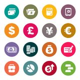 Finance and money theme icons set Stock Photos