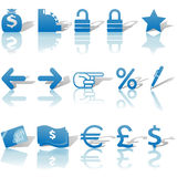 Finance Money Website Icons Set Blue. A set of Finance, Money, and Website Navigation icons for internet business and communications, with reflections and Royalty Free Stock Images