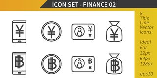 Finance and Money, Yen and Bitcoin, Thin Line Vector Icon Set. Finance and Money, Yen and Bitcoin coins banknotes and electronic cash, Thin Line Vector Icon Set Stock Photos