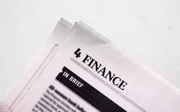 Finance News. Photograph of a finance newspaper Stock Images