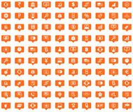 Finance orange message icons set Royalty Free Stock Photo