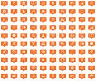 Finance orange message icons set Royalty Free Stock Photo