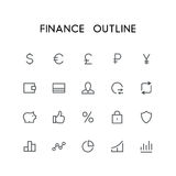 Finance outline icon set. Dollar, euro, pound, ruble, yen, wallet, credit card, exchange and others simple vector symbols. Bank, money and currency signs Royalty Free Stock Photo