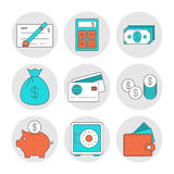 Finance outline icons. Investment and save money theme Royalty Free Stock Photo