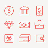 Finance, payments and money line  icons set. Finance money, business finance, banking money credit, cash money Royalty Free Stock Images